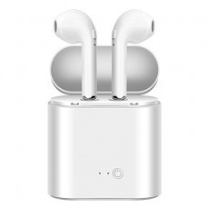 HBQ I7S Double Dual Mini Wireless Earphone With Power Case - White