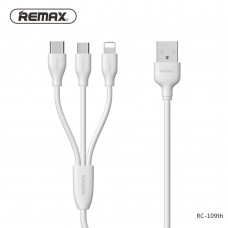 Remax RC-109th SUDA 3 in 1 Fast Charging Cable for Lightning/Micro/Type-C 1M