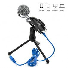 SF-922 Microphone with Mic Stand for PC - Silver and Black