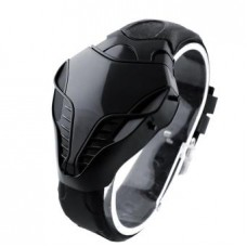 Cobra Shape Dial Red LED Watch Men Silicone Wrist Watch - Black