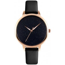 SKMEI 9141 - Black Leather Analog Watch for Women