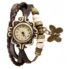 Chocolate Artificial Leather Bracelet Analogue Watch for Women