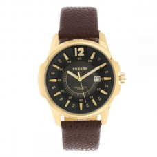 8123 Leather Analog Watch for Men - Coffee